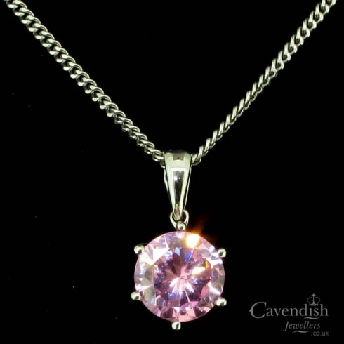 Stunning 9ct White Gold Pink Cubic Zirconia Pendant Necklace