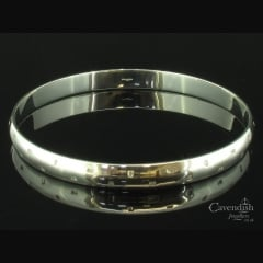 Stunning Diamond Set Silver Bangle