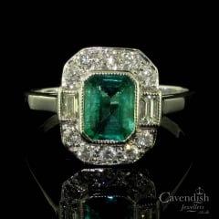 Stunning Emerald And Diamond Art Deco Style Ring