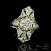Stunning Platinum And Diamond Tablet Ring