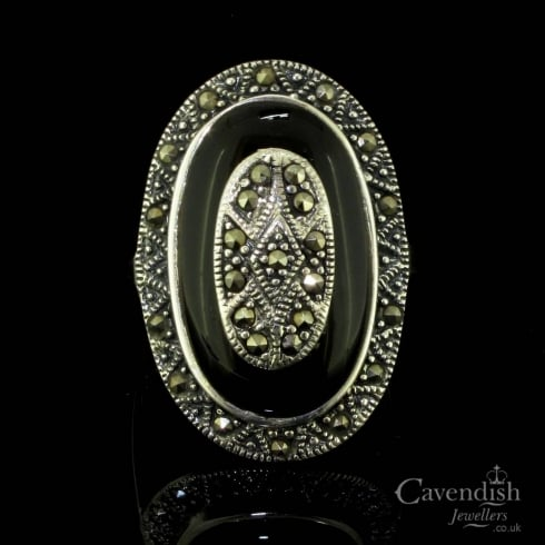 Stunning Silver, Onyx And Marcasite Tablet Ring