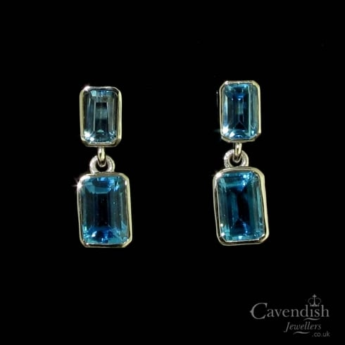 Stunning White Gold Emerald Cut Blue Topaz Drop Earrings