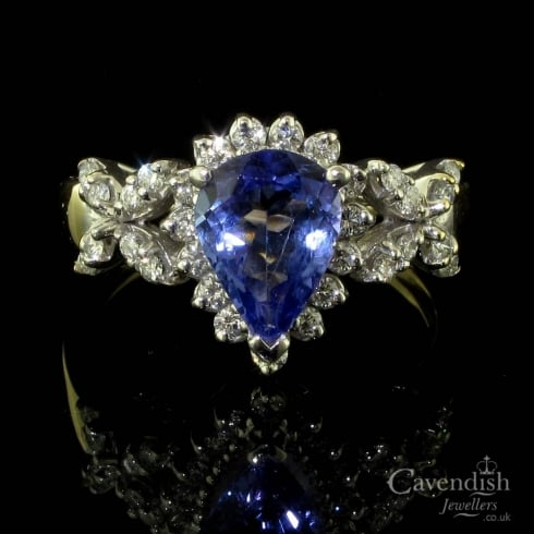 Stunning Yellow Gold, Tanzanite And Diamond Fancy Cluster Ring
