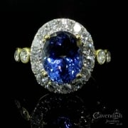 Stunning Yellow Gold, Tanzanite & Diamond Cluster Ring