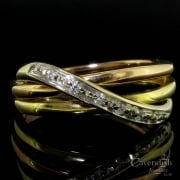 Stylish 3 Colour Gold Diamond Set Crossover Ring