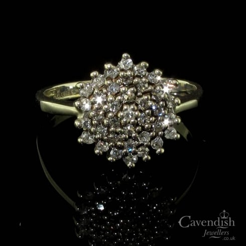 Stylish 9ct White Gold Diamond Cluster Ring