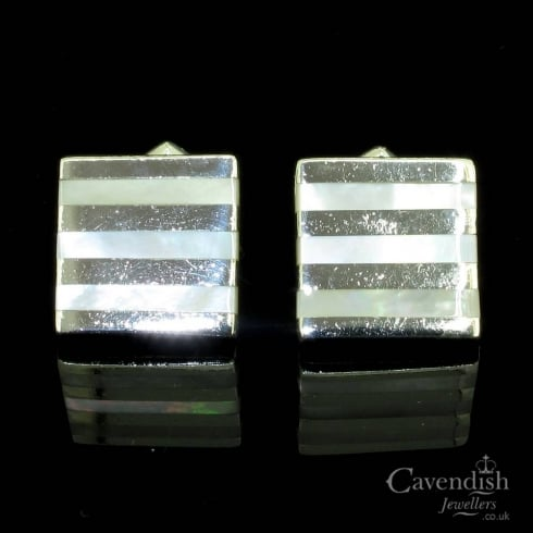 Stylish Silver And Mother Of Pearl Square Cufflinks