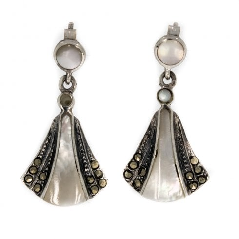 Stylish Silver Mother Of Pearl Onyx and Marcasite Drop Earrings