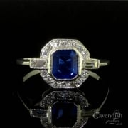 Stylish Vintage Sapphire and Diamond Cluster Ring