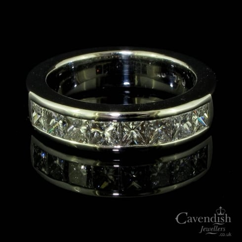 Stylish White Gold And Diamond Half Hoop Eternity Ring