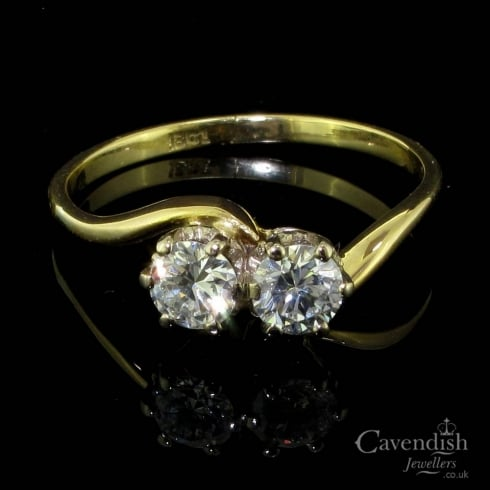 Sublime 18ct Gold And Diamond 2 Stone Twist Ring