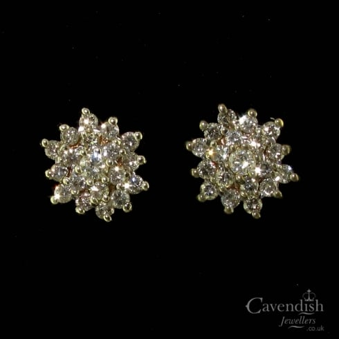 Superb 9ct Gold Diamond Cluster Stud Earrings