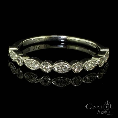 Superb 9ct White Gold Diamond Half Eternity Ring