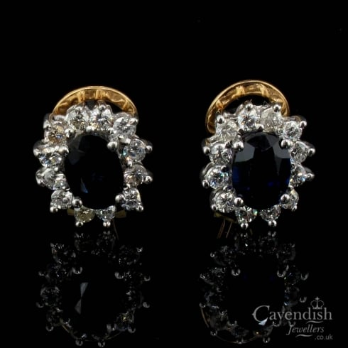 Superb Gold Sapphire and Diamond Cluster Earrings