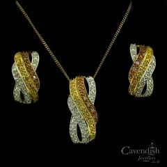 Sweet 3 Colour Gold On Silver & Diamond, Pendant & Earring Set