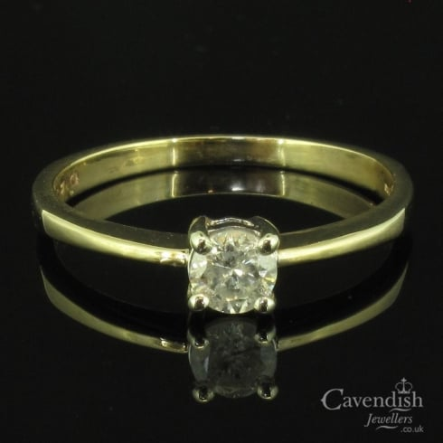 Sweet 9ct Gold & Diamond Single Stone Solitaire Ring
