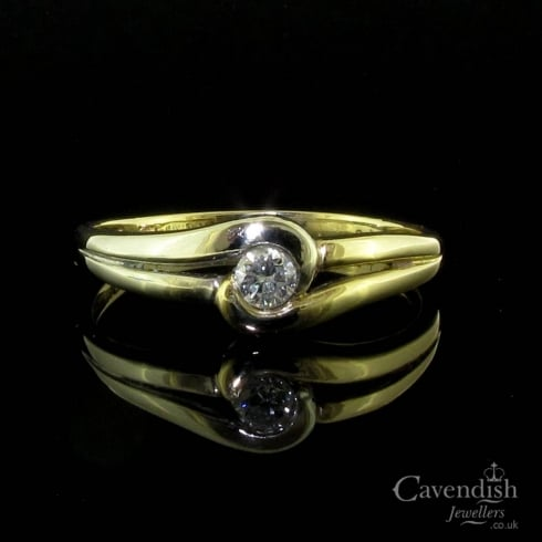 Sweet 9ct White and Yellow Gold Diamond Solitaire Twist Ring