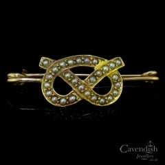 Sweet Gold And Seed Pearl Love Knot Brooch