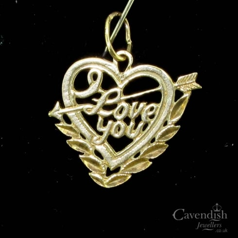 Sweet Gold I Love You Heart Charm