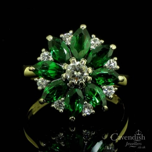 Tantalising 18ct Gold Tsavorite Garnet & Diamond Cluster Ring