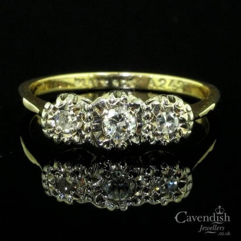 Tantalising 9ct Gold And Platinum Diamond Trilogy Ring