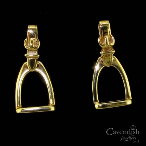 Tantalising 9ct Gold Stirrup Drop Earrings
