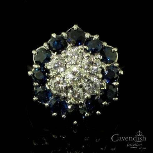 Tantalising Sapphire And Diamond Cluster Ring