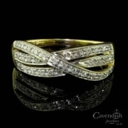 Tempting 9ct Gold And Diamond 3 Row Crossover Ring