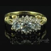 Tempting 9ct Gold, Aquamarine & Diamond Cluster Ring