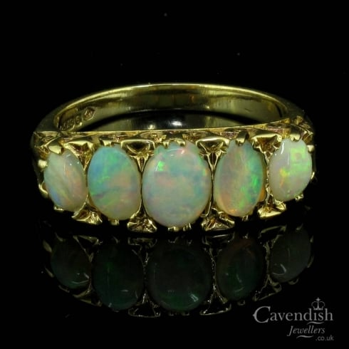 Tempting 9ct Gold & Opal 5 Stone Vintage Ring