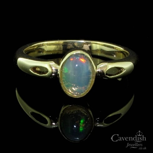 Tempting Natural Opal Single Stone Ring