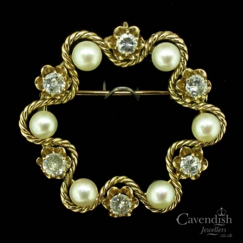 Thrilling Gold Pearl and Diamond Brooch