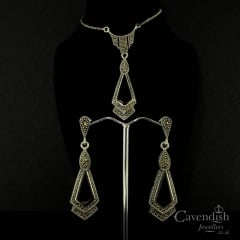 Thrilling Onyx & Marcasite Pendant with Earrings Set