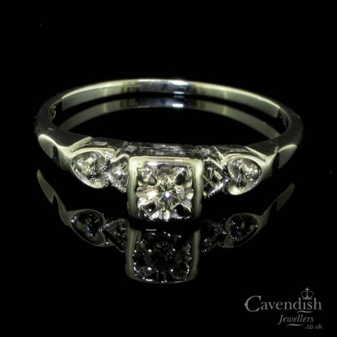 Timeless White Gold And Diamond Art Deco Period Solitaire Ring