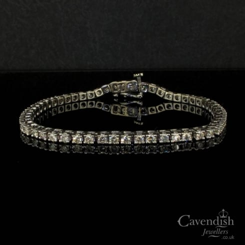 Timeless White Gold And Diamond Line Bracelet