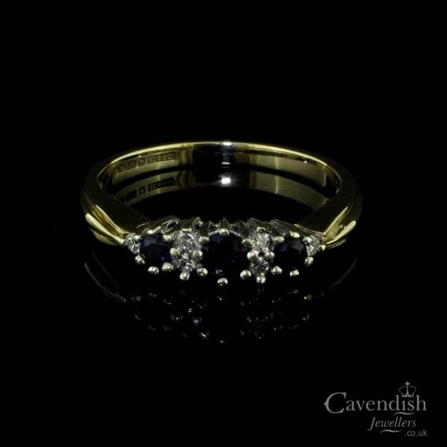 Traditional 9ct Gold, Sapphire and Diamond Ring
