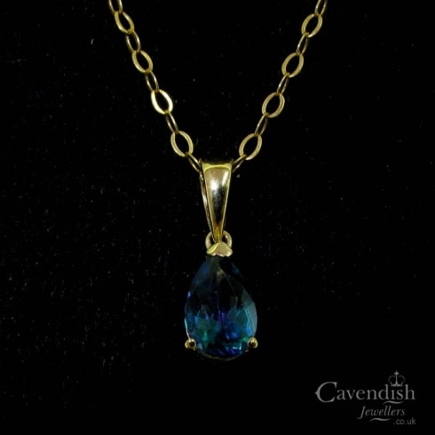 Understated Yellow Gold & Blue Topaz Drop Pendant Necklace