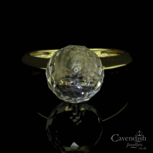 Unusual 9ct Gold Austrian Crystal Single Stone Ring