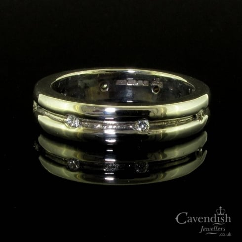 Unusual 9ct White Gold Diamond Band Ring