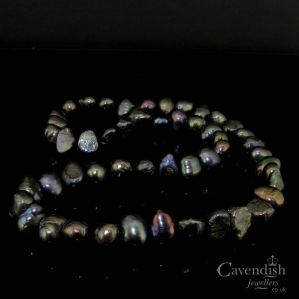 e4cb4bc7cbbb1 Unusual Black Freshwater Pearl Necklace