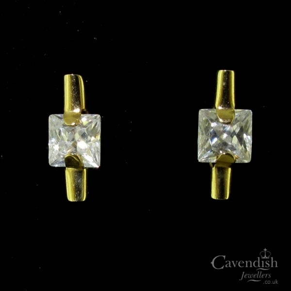 0d5a1e313 Unusual Gold Cubic Zirconia Stud Earrings - Earrings from Cavendish ...