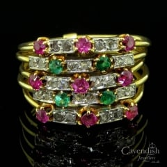 Unusual Gold, Ruby, Emerald & Diamond 5 Band Ring