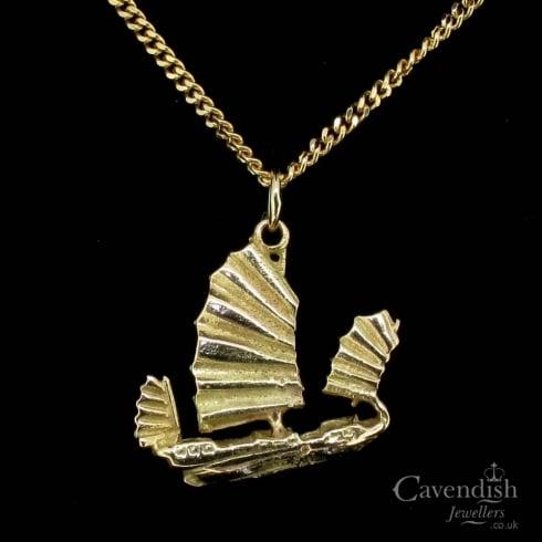 Unusual Gold Sail Boat Pendant Necklace