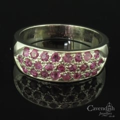 Unusual Palladium & Ruby 3 Row Half Hoop Ring