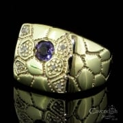 Unusual Yellow Gold, Amethyst And Diamond Signet Ring