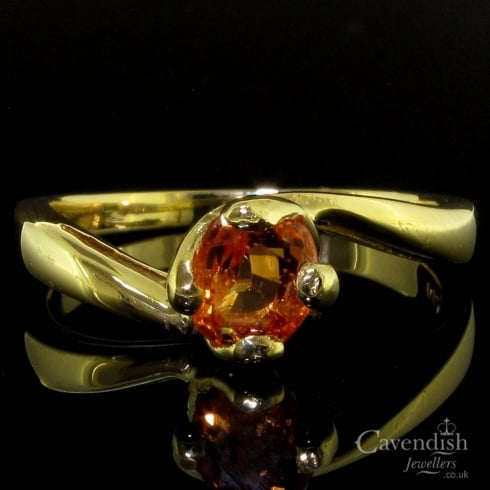 Unusual Yellow Gold Sapphire Single Stone Twist Ring