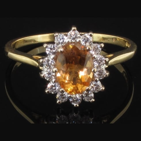 Vibrant 18ct Gold Imperial Topaz & Diamond Oval Cluster Ring