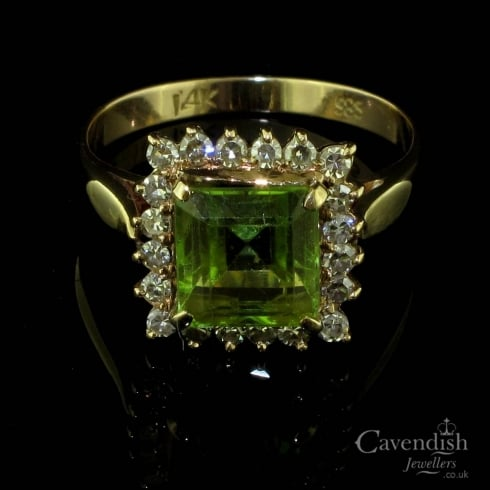 Vibrant Yellow Gold, Peridot And Diamond Square Cluster Ring