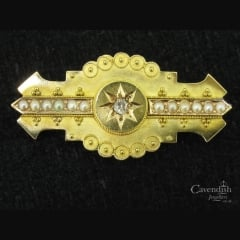 Victorian 15ct Gold Seed Pearl & Diamond Mourning Brooch