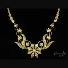 Victorian 15ct Gold Seed Pearl Flower Necklace